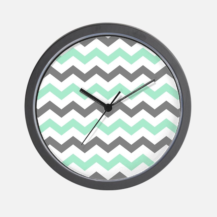 Mint and Gray Chevron Pattern Wall Clock
