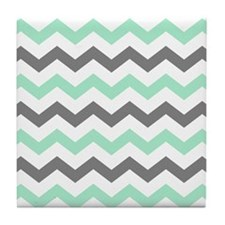 Mint and Gray Chevron Pattern Tile Coaster