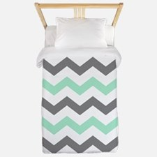 Mint and Gray Chevron Pattern Twin Duvet
