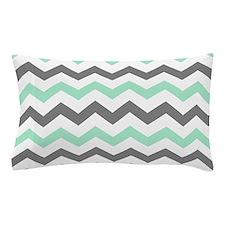 Mint and Gray Chevron Pattern Pillow Case