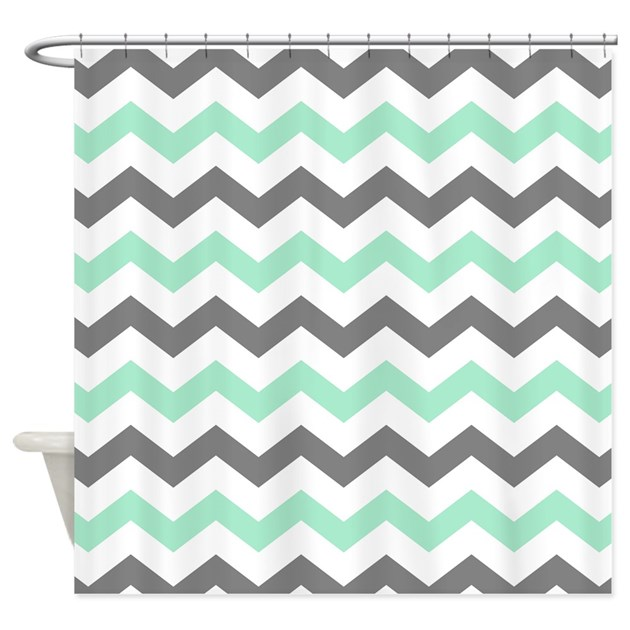 Mint And Gray Chevron Pattern Shower Curtain By