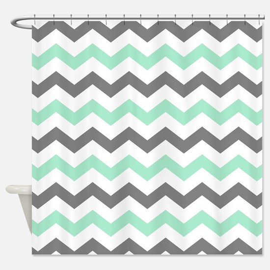 mint and grey shower curtain. Mint and Gray Chevron Pattern Shower Curtain And Grey Curtains  CafePress