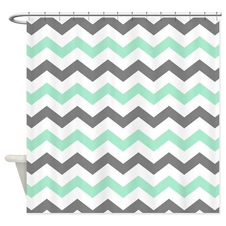 Gray Chevron Shower Curtain