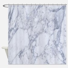 Realistic White Faux Marble Stone P Shower Curtain
