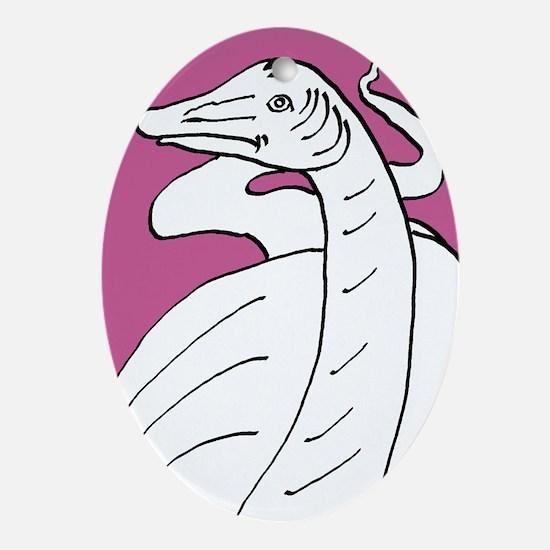 Diplodocus longus pink Oval Ornament