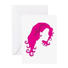 Girl with curly hair Greeting Cards