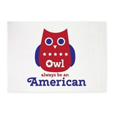 Owl always be an American 5'x7'Area Rug