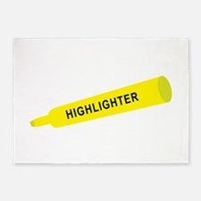 Yellow highlighter 5'x7'Area Rug