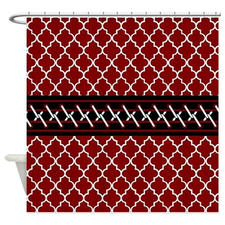 Black Red And White Quatrefoil Shower Curtain By CustomGifts2