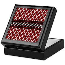 Black Red and White Quatrefoil Keepsake Box