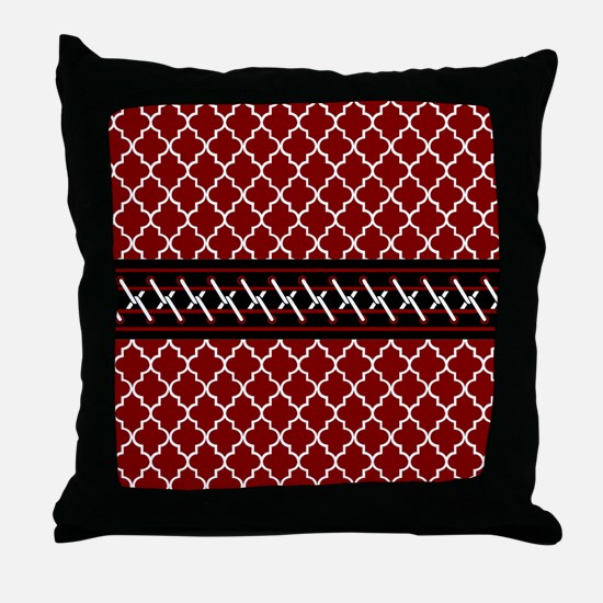 Black Red and White Quatrefoil Throw Pillow