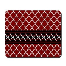 Black Red and White Quatrefoil Mousepad