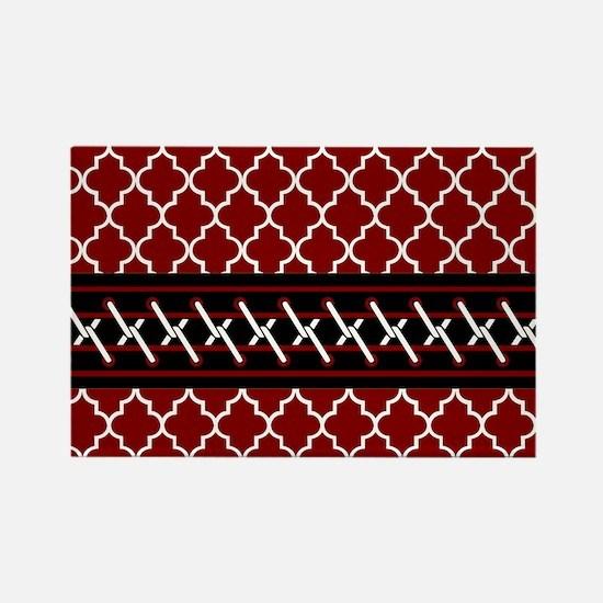 Black Red and White Quatrefoil Rectangle Magnet