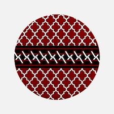 Black Red and White Quatrefoil Button