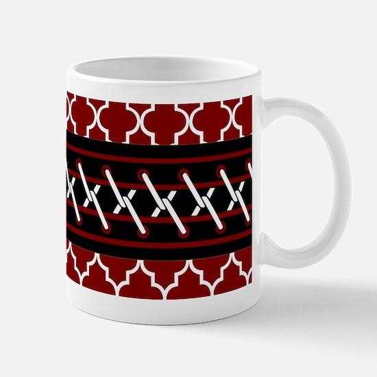 Black Red and White Quatrefoil Mug