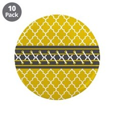 "Yellow Moroccan Quatrefoil P 3.5"" Button (10 pack)"