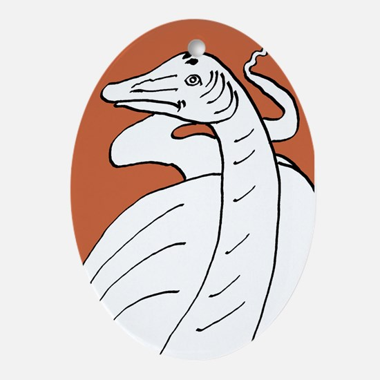 Diplodocus longus orange Oval Ornament