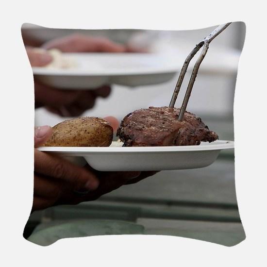 Summertime Grilling Woven Throw Pillow