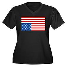 Upside Down USA Flag Women's Plus Size V-Neck Dark