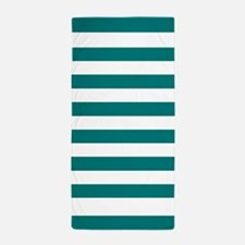 Bold Teal and White Stripes Beach Towel