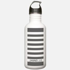 Custom Name Gray and W Water Bottle