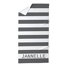 Custom Name Gray and White Stripes Beach Towel
