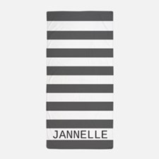 Custom Name Gray and White Stripes Beach Towel
