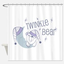 Twinkle bear and moon Shower Curtain