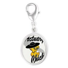 Actuary Chick #4 Silver Oval Charm