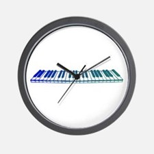 Teal Piano Keys Wall Clock