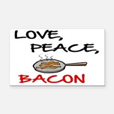 LOVE , PEACE, BACON Rectangle Car Magnet