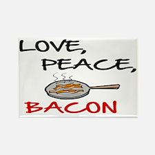LOVE , PEACE, BACON Rectangle Magnet