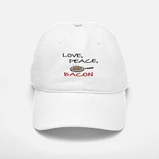 LOVE , PEACE, BACON Baseball Baseball Cap