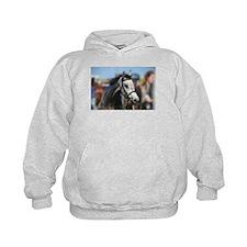 Portrait of the Grey Race Horse Hoodie
