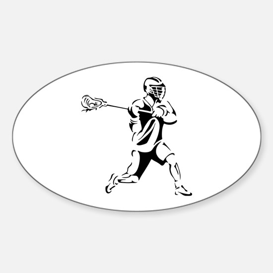 Lacrosse Player Action Sticker (Oval)