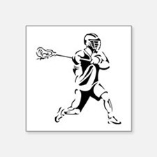 "Lacrosse Player Action Square Sticker 3"" x 3"""