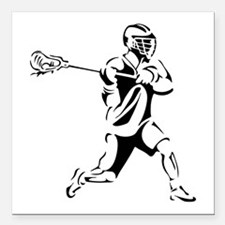 "Lacrosse Player Action Square Car Magnet 3"" x 3"""