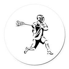 Lacrosse Player Action Round Car Magnet