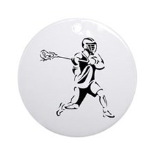 Lacrosse Player Action Ornament (Round)