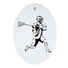 Lacrosse Player Action Ornament (Oval)