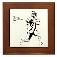 Lacrosse Player Action Framed Tile