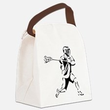 Lacrosse Player Action Canvas Lunch Bag