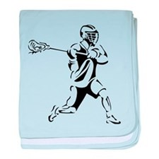 Lacrosse Player Action baby blanket