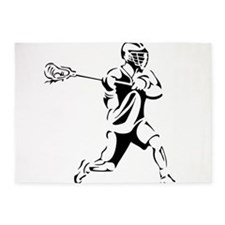 Lacrosse Player Action 5'x7'Area Rug