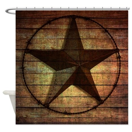 Barn Wood Texas Star Shower Curtain