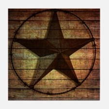barn wood texas star Tile Coaster