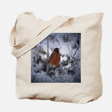 nature winter robin bird Tote Bag