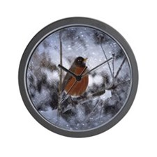 nature winter robin bird Wall Clock