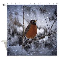 nature winter robin bird Shower Curtain