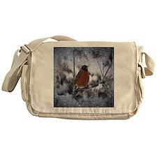 nature winter robin bird Messenger Bag